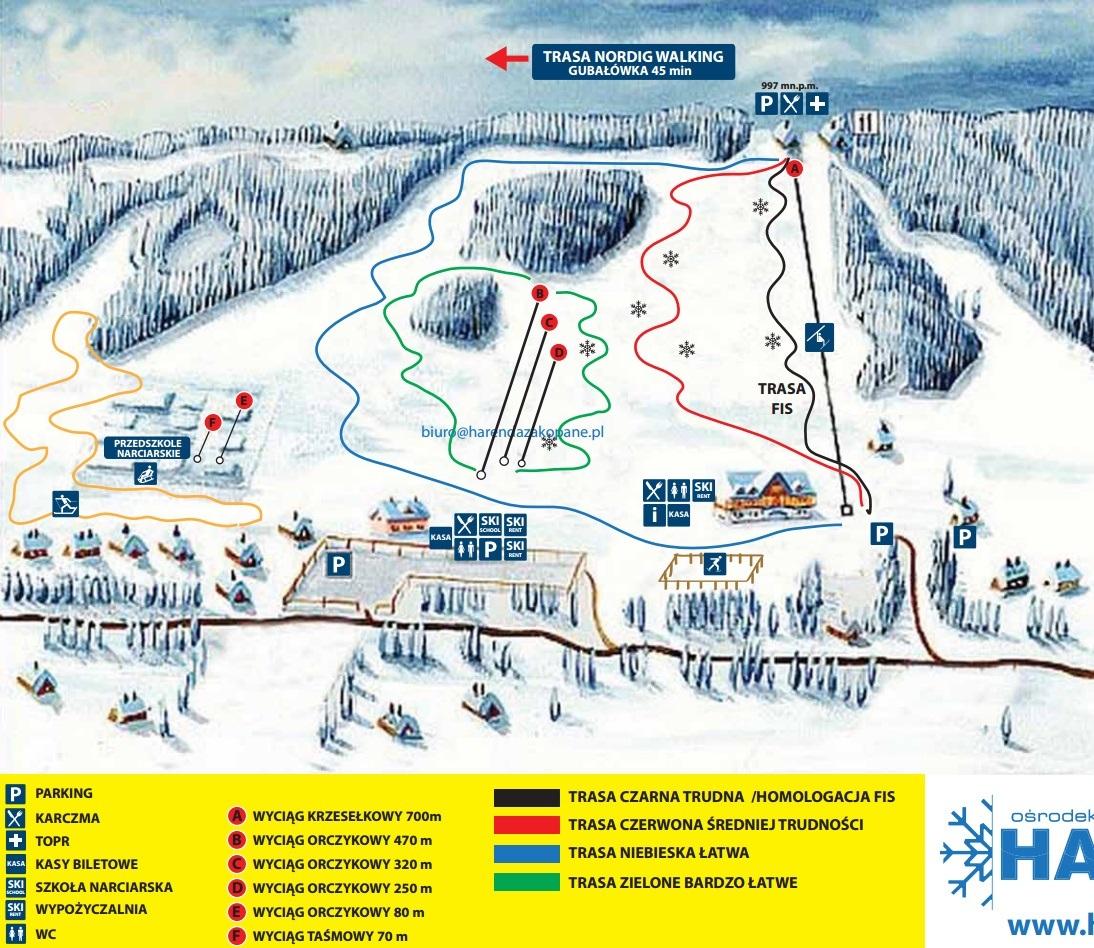 zakopane - harenda piste map   plan of ski slopes and lifts   onthesnow