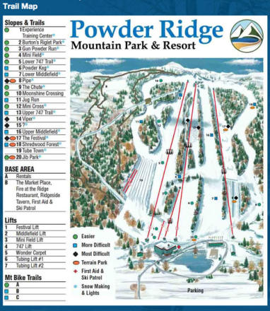 Powder Ridge Park Plan des pistes