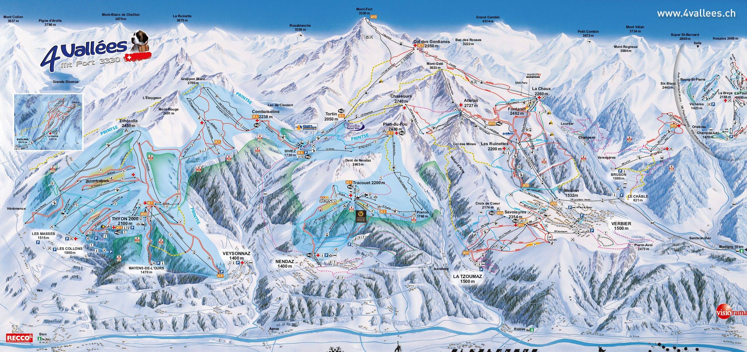 Verbier Piste Map Verbier Piste Map | Plan of ski slopes and lifts | OnTheSnow
