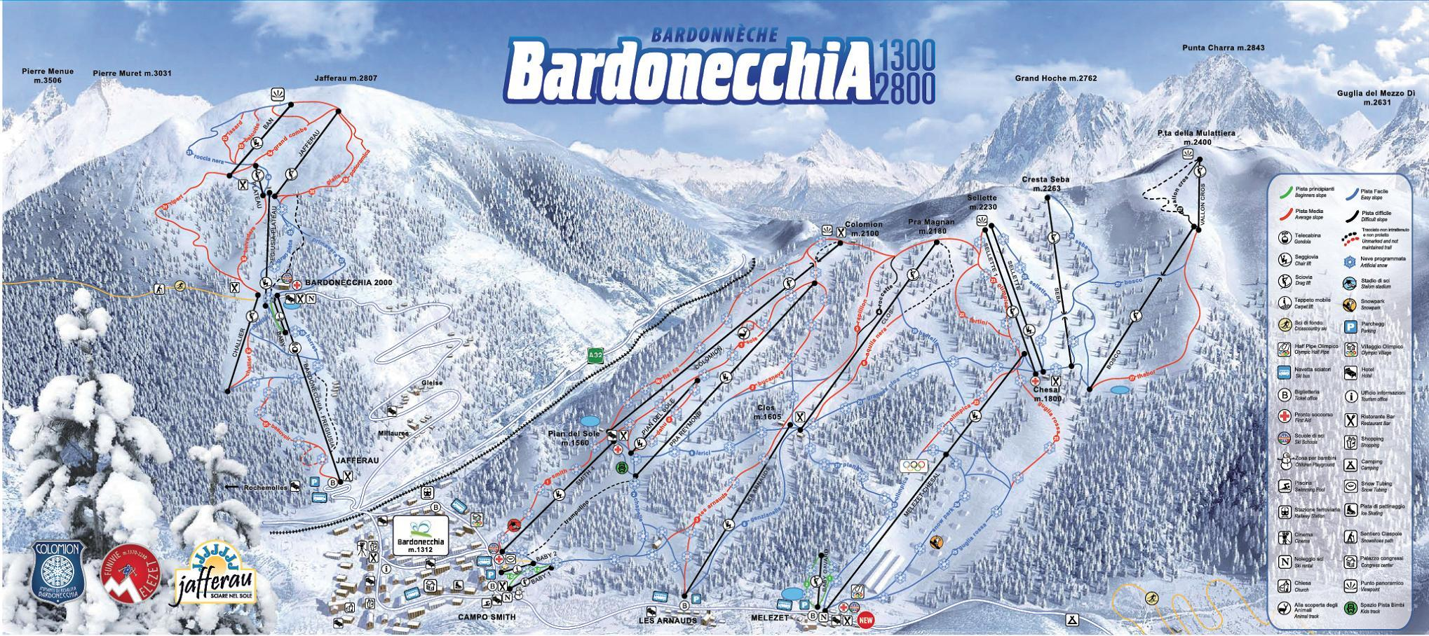 Bardonecchia Piste Map Plan of ski slopes and lifts OnTheSnow