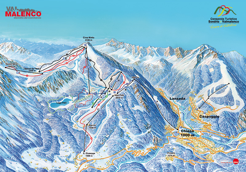 Chiesa Valmalenco Piste Map Plan of ski slopes and lifts OnTheSnow