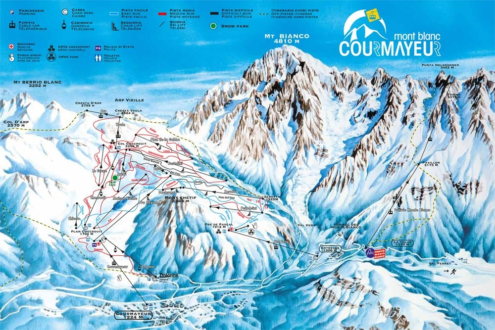 Courmayeur Piste Map Plan of ski slopes and lifts OnTheSnow