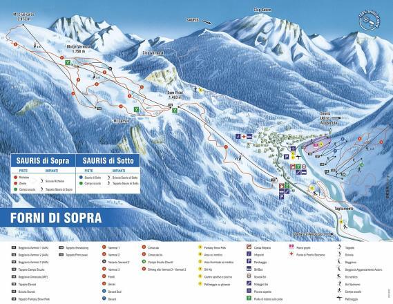 Forni di Sopra Mappa piste