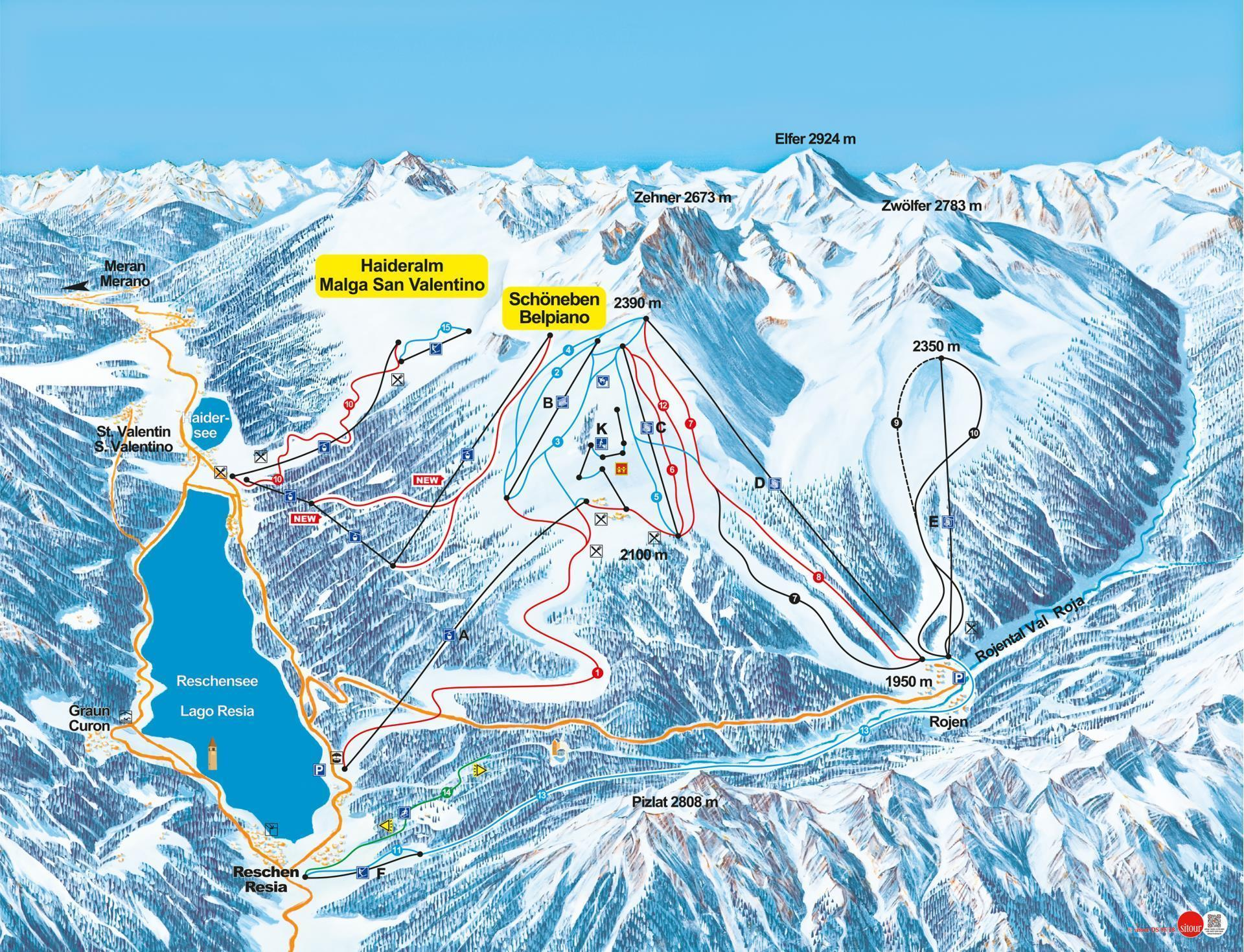 malga san valentino / haideralm piste map | plan of ski slopes and