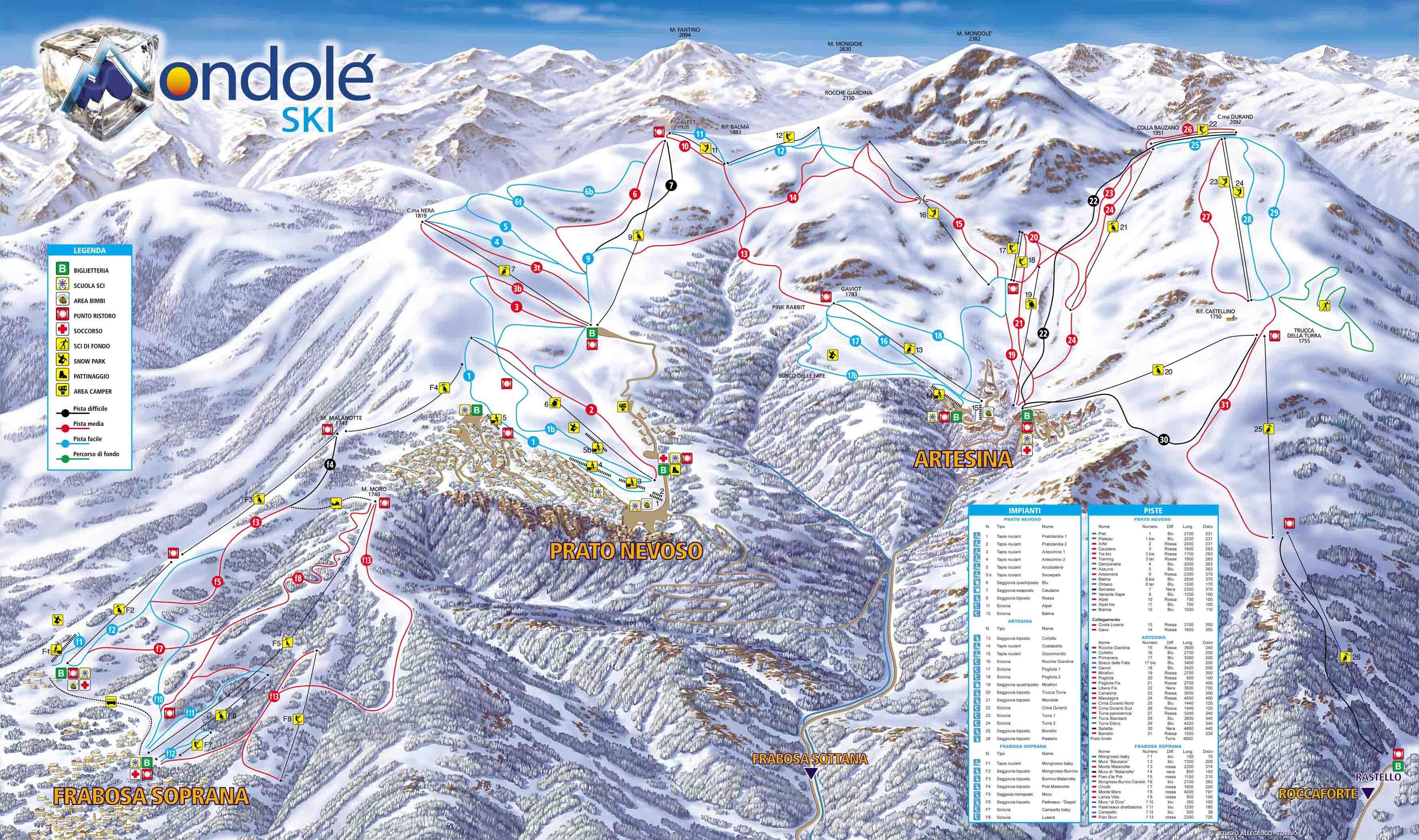 Prato Nevoso Mondol Ski Trail Map OnTheSnow