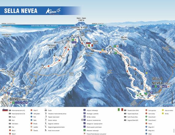Sella Nevea - Kanin Trail Map