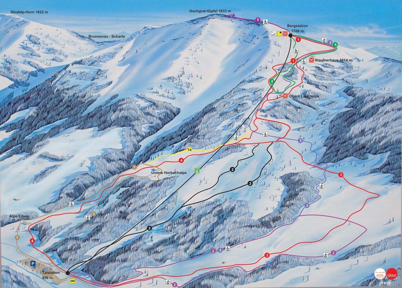 pistenplan skigebiet oberstaufen hochgrat liftplan pisten und lifte skiinfo. Black Bedroom Furniture Sets. Home Design Ideas