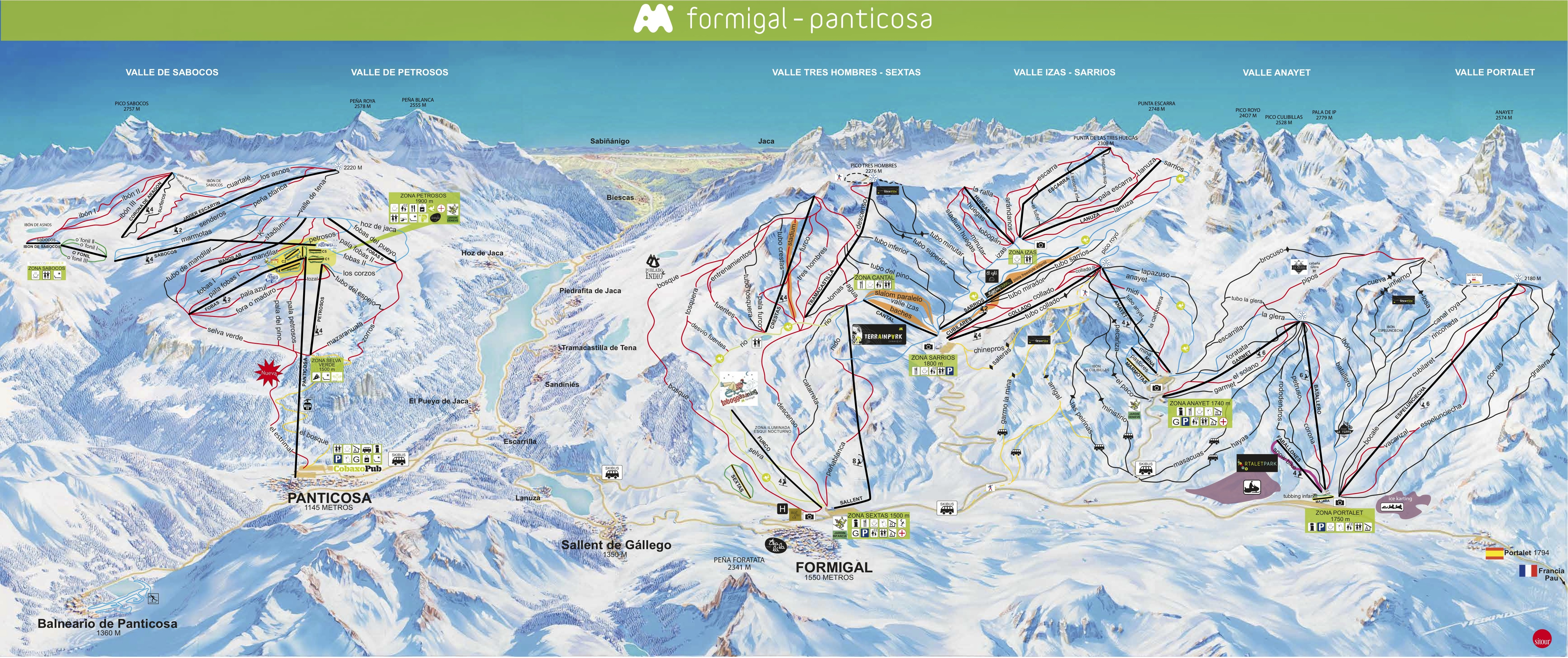 f rmigal plan des pistes de ski f rmigal. Black Bedroom Furniture Sets. Home Design Ideas