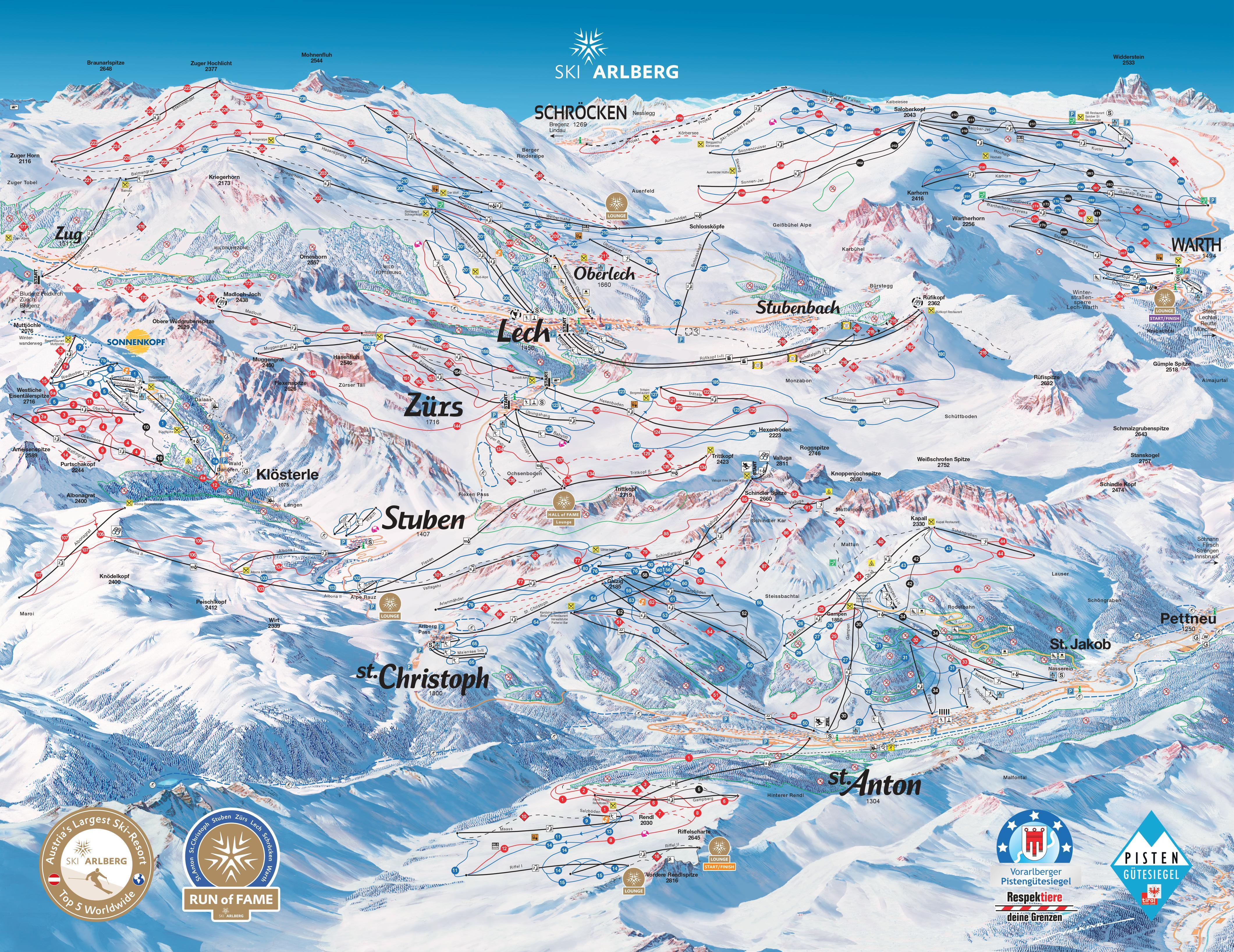 Lech Piste Map Lech Zürs am Arlberg Piste Map | Plan of ski slopes and lifts  Lech Piste Map