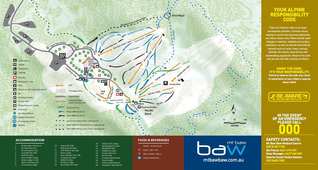 Mt Baw Baw Alpine Resort Trail Map Onthesnow