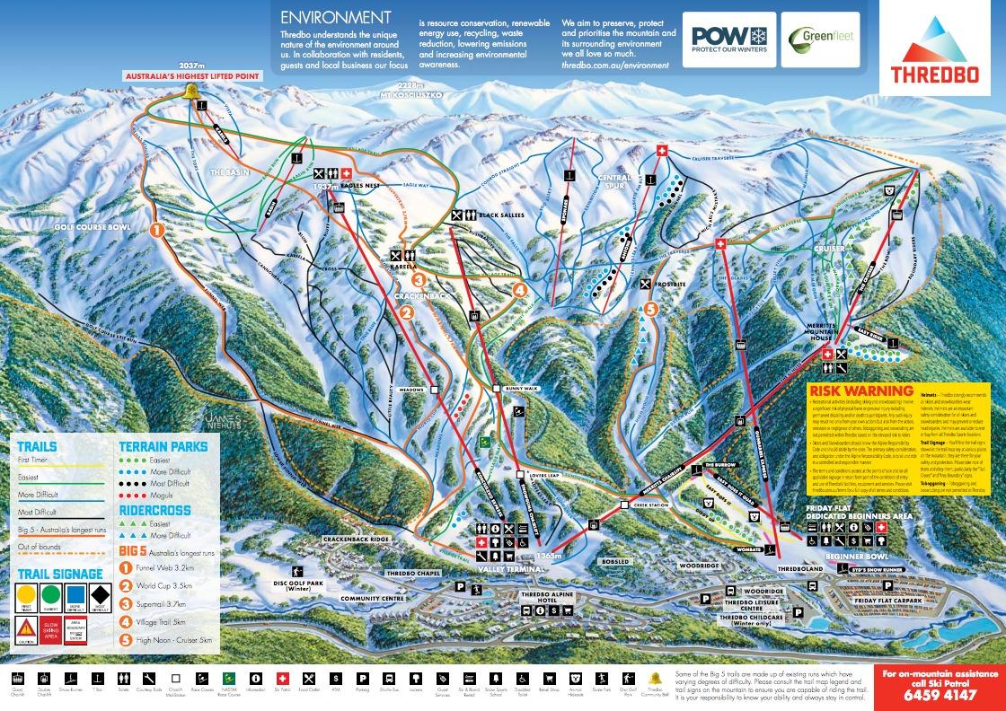 Thredbo alpine resort trail map onthesnow for Alpine lodge