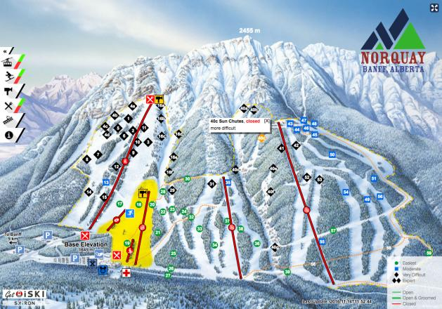 Mt Norquay Trail Map Onthesnow