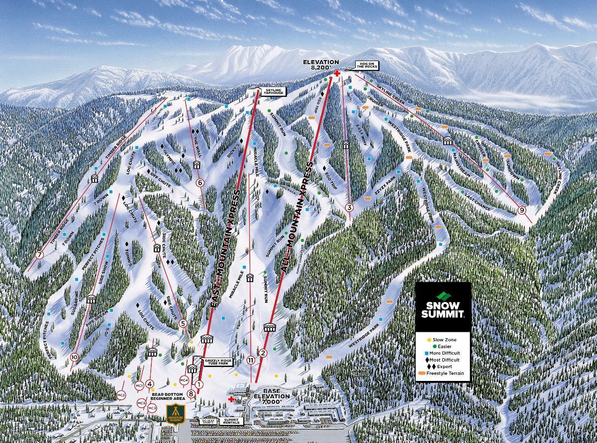 snow summit trail map | onthesnow