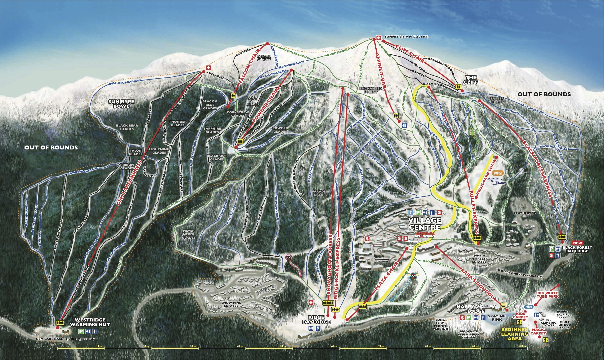 Big White Map Big White Trail Map | OnTheSnow
