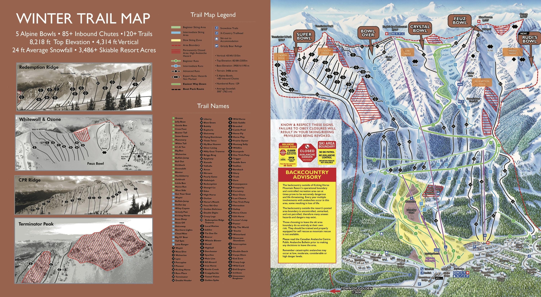 Kicking Horse Map Kicking Horse Trail Map | OnTheSnow
