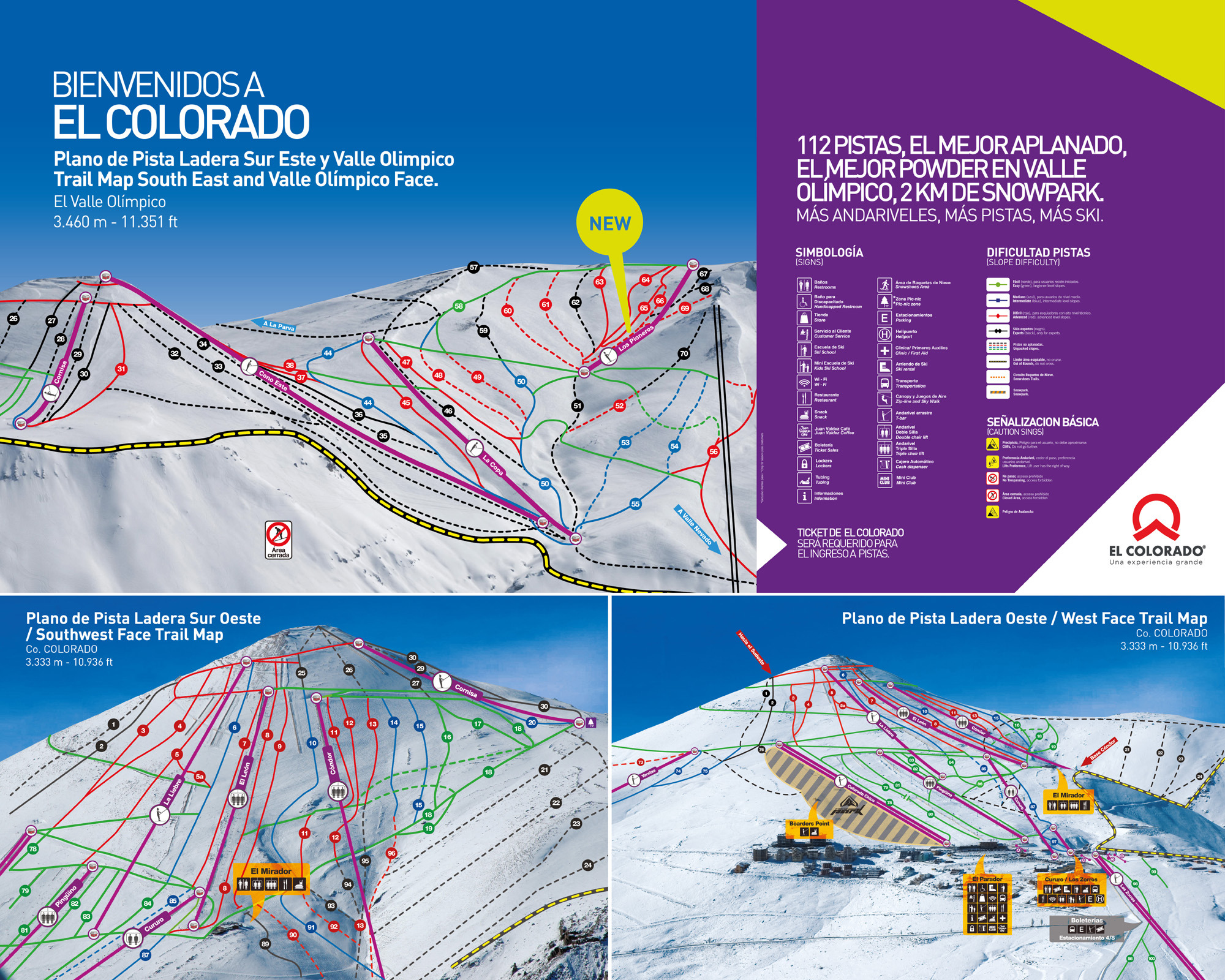 Skiing Colorado Map.El Colorado Trail Map Onthesnow