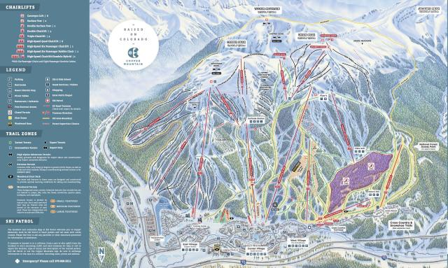 Copper Mountain Resort Mapa tras