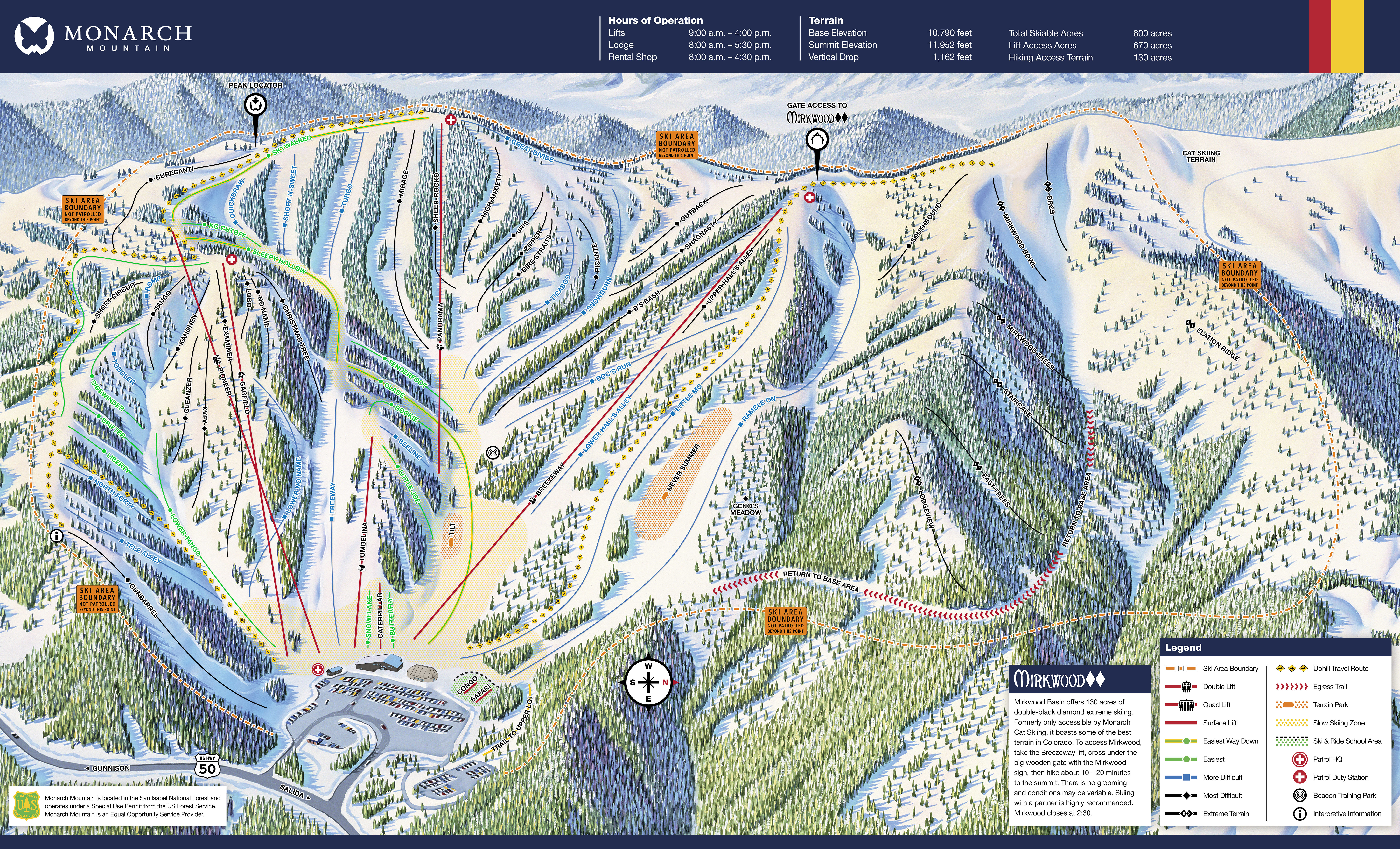 Monarch Mountain Trail Map | OnTheSnow