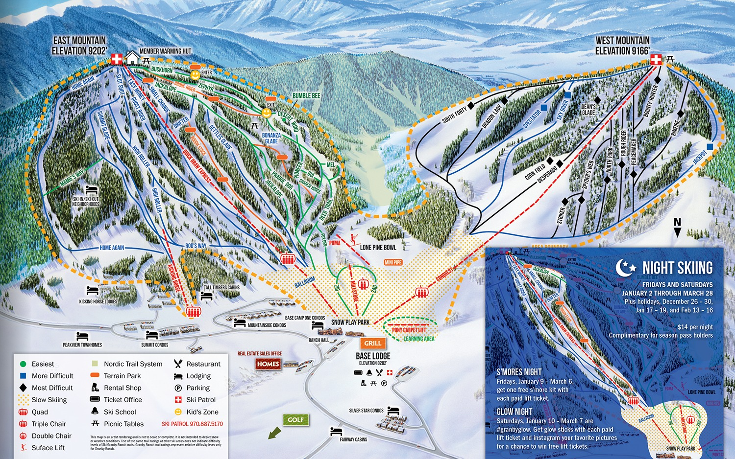 Skiing Colorado Map.Ski Granby Ranch Trail Map Onthesnow