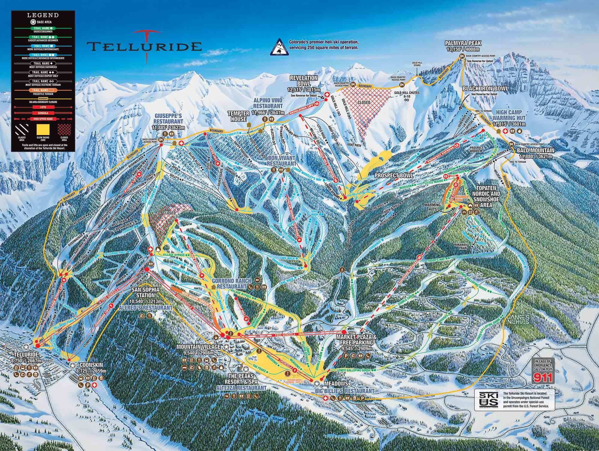 Telluride Colorado Map Telluride Trail Map | OnTheSnow Telluride Colorado Map