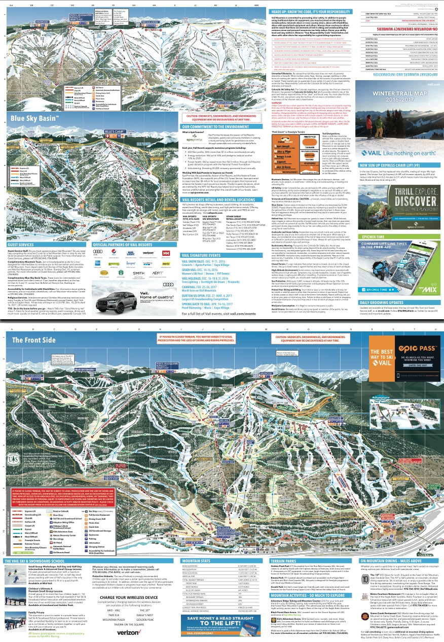 Vail Trail Map | OnTheSnow