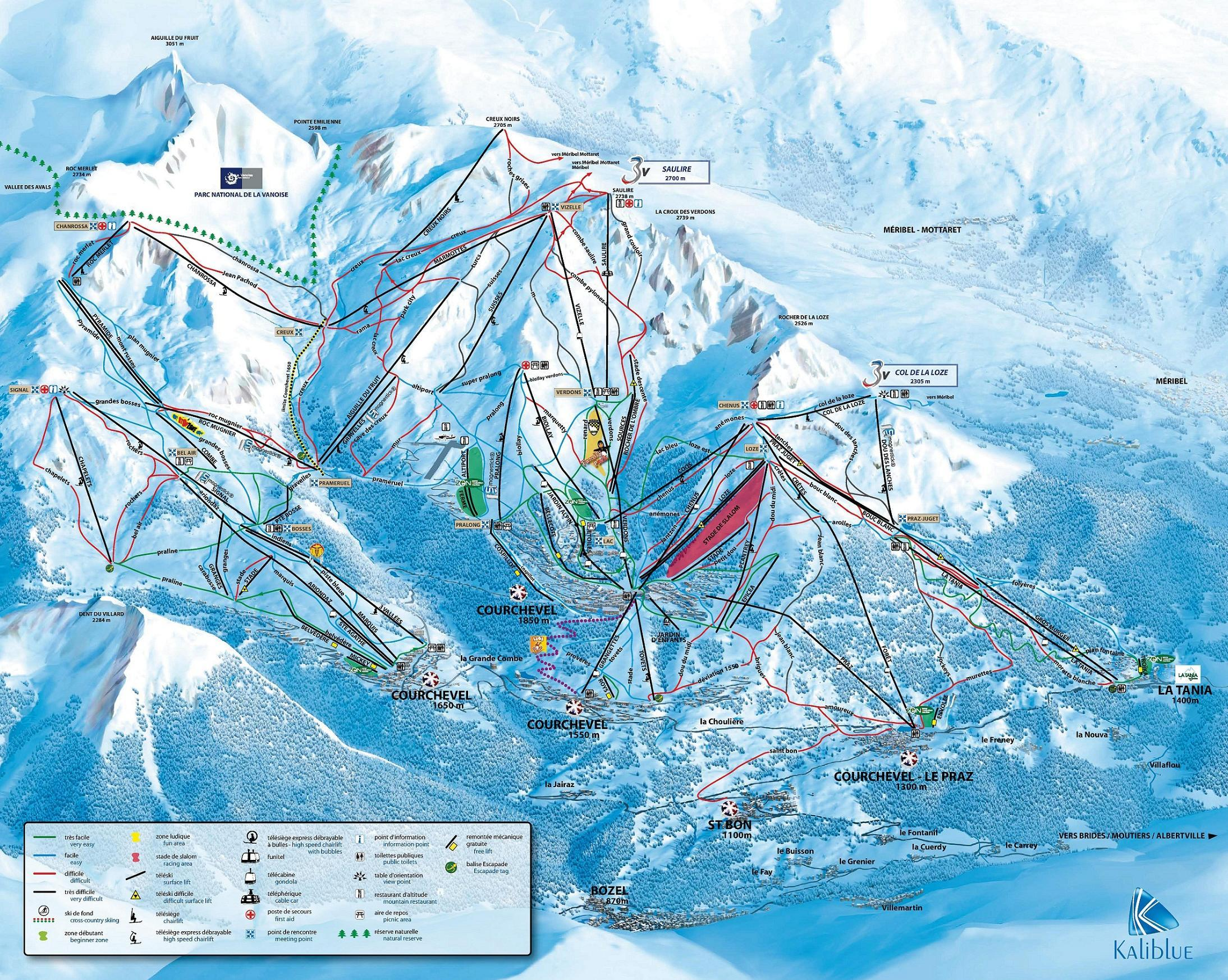 Courchevel Trail Map OnTheSnow