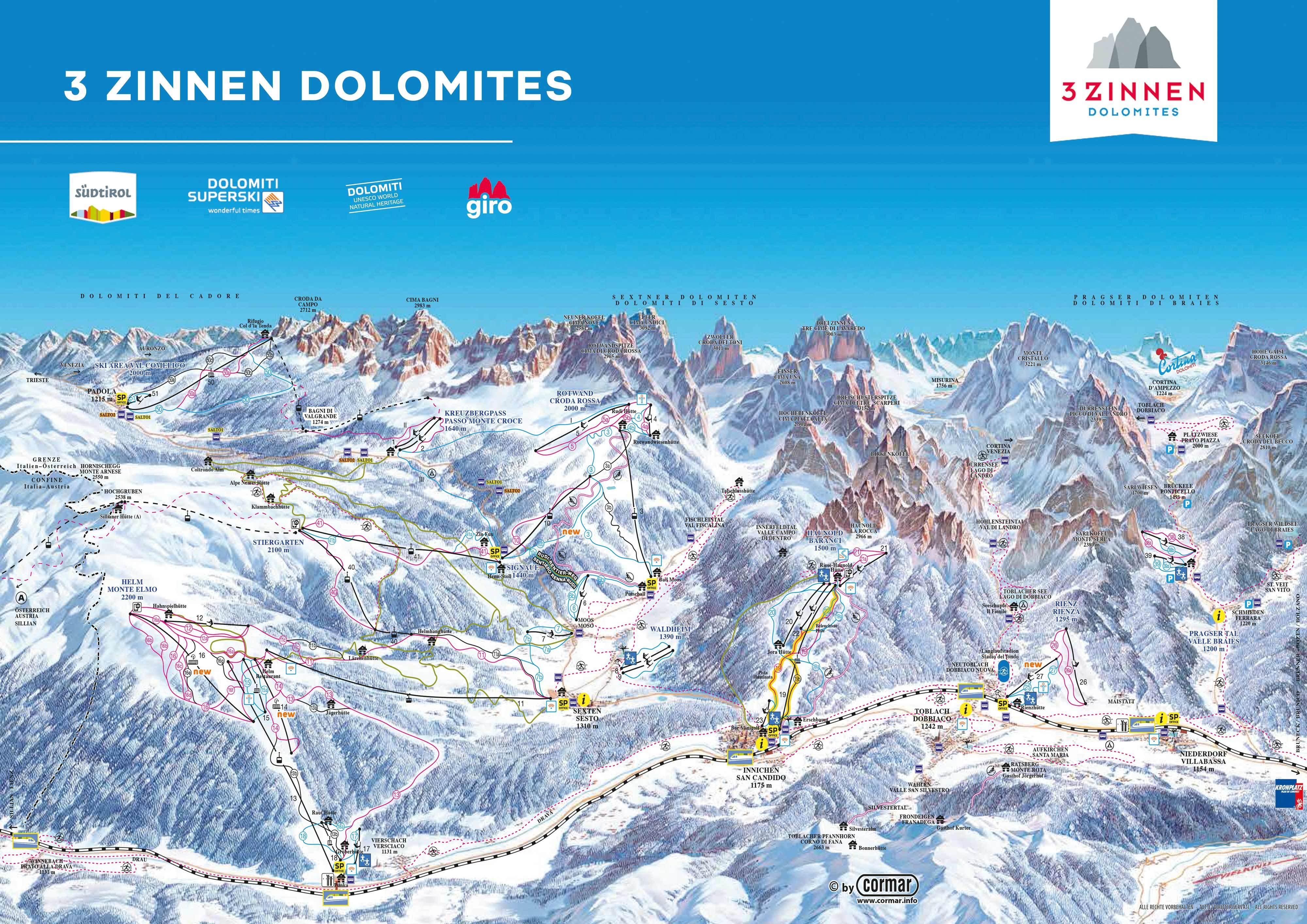 Cartina Dolomiti Superski.Mappa Delle Piste Da Sci A Tre Cime Dolomiti