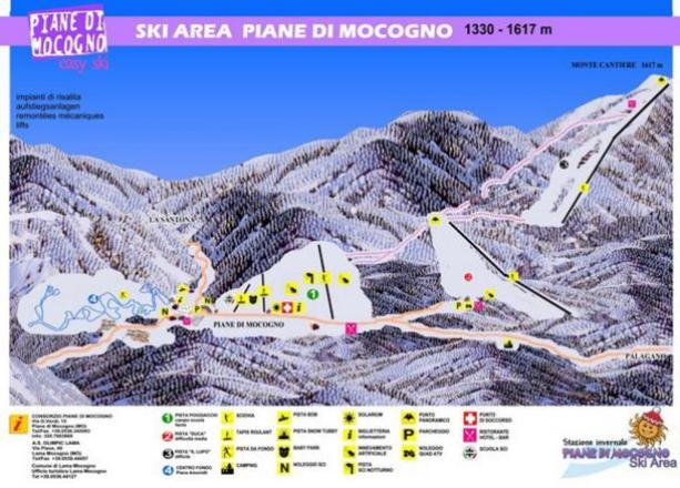 Piane di Mocogno Plan des pistes