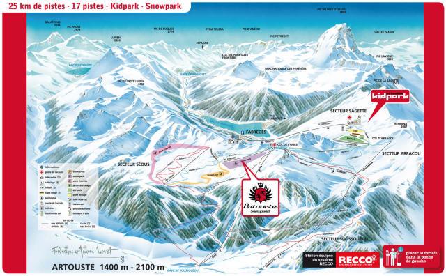 Artouste - Fabrèges Piste Map