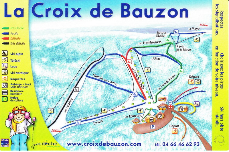 la croix de bauzon plan des pistes de ski la croix de bauzon. Black Bedroom Furniture Sets. Home Design Ideas