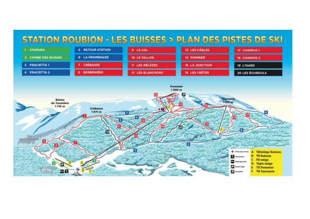 Roubion - Les Buisses Piste Map