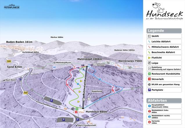 Hundseck - Bühlertallifte Piste Map