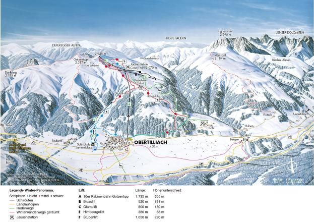 Obertilliach - Golzentipp Plan des pistes