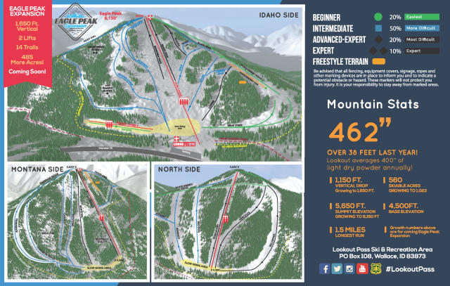 Lookout Pass Ski Area Piste Map