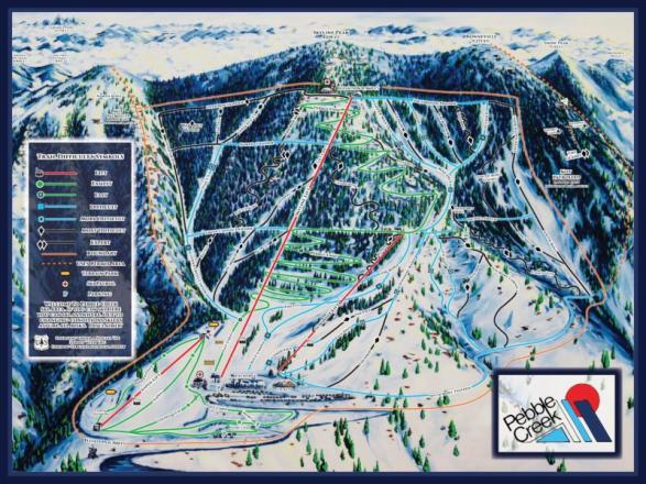 Pebble Creek Ski Area Plan des pistes