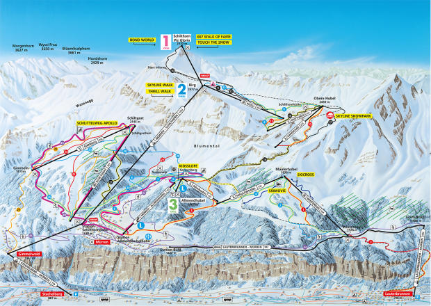 Mürren - Schilthorn Trail Map