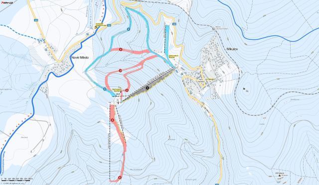 Bouřňák Plan des pistes