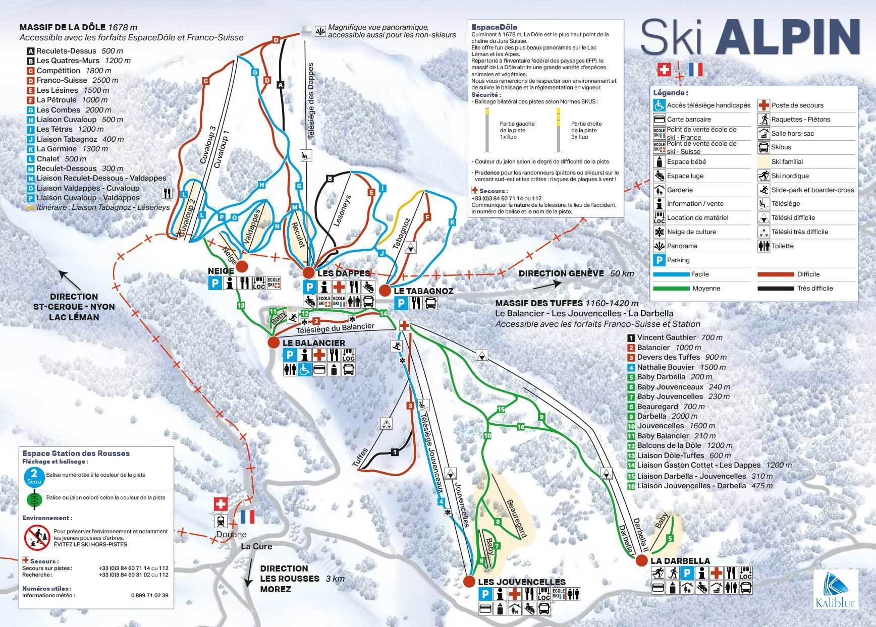 St Cergue La Dole Plan Des Pistes De Ski St Cergue La Dole