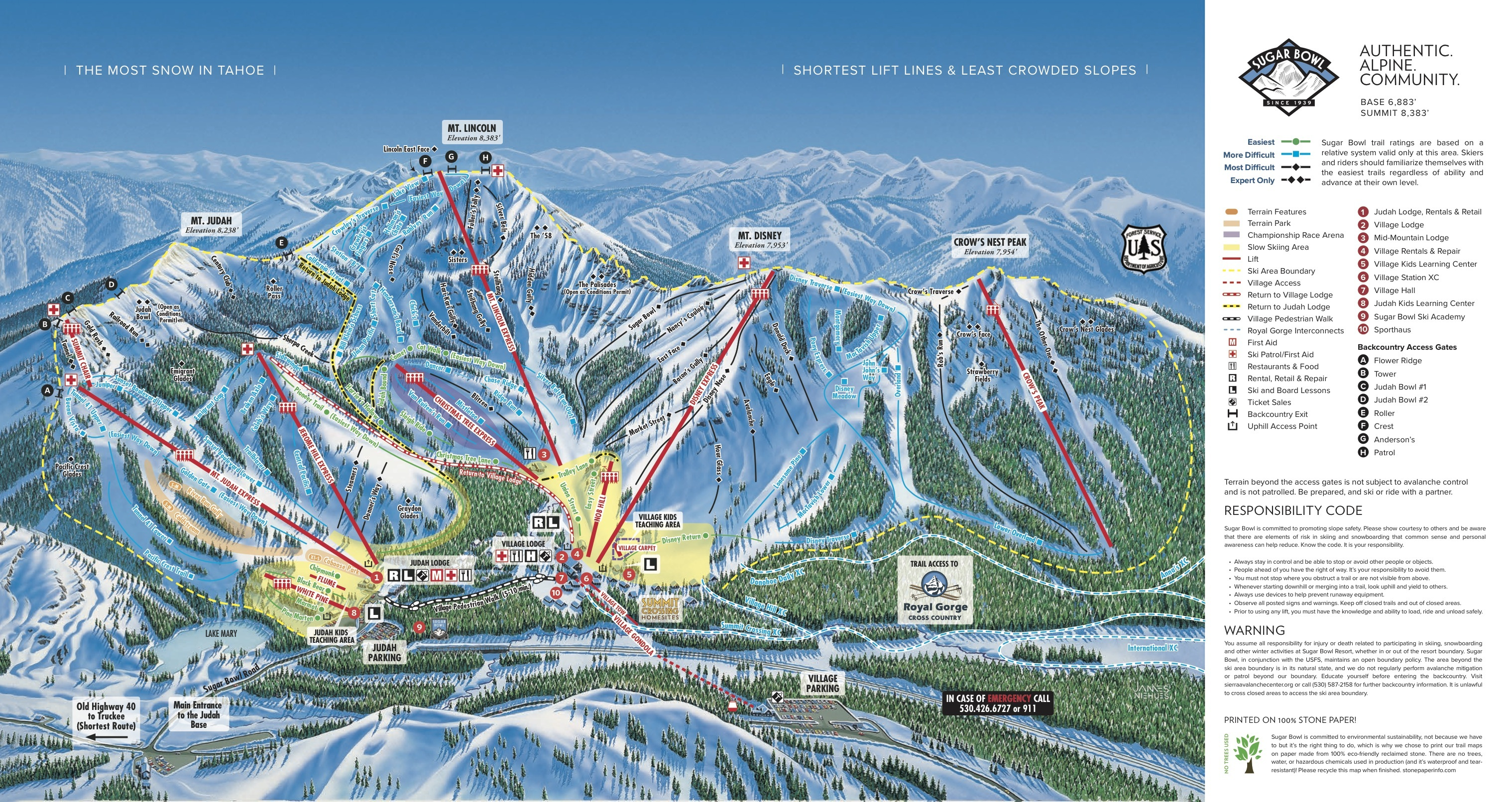 Sugar Bowl Resort Piste Map | Plan of ski slopes and lifts | OnTheSnow