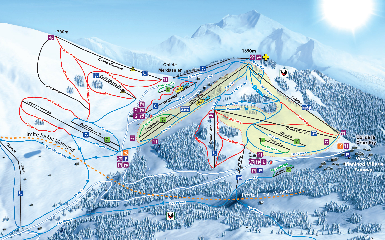 Manigod plan des pistes de ski manigod for Piste de ski interieur
