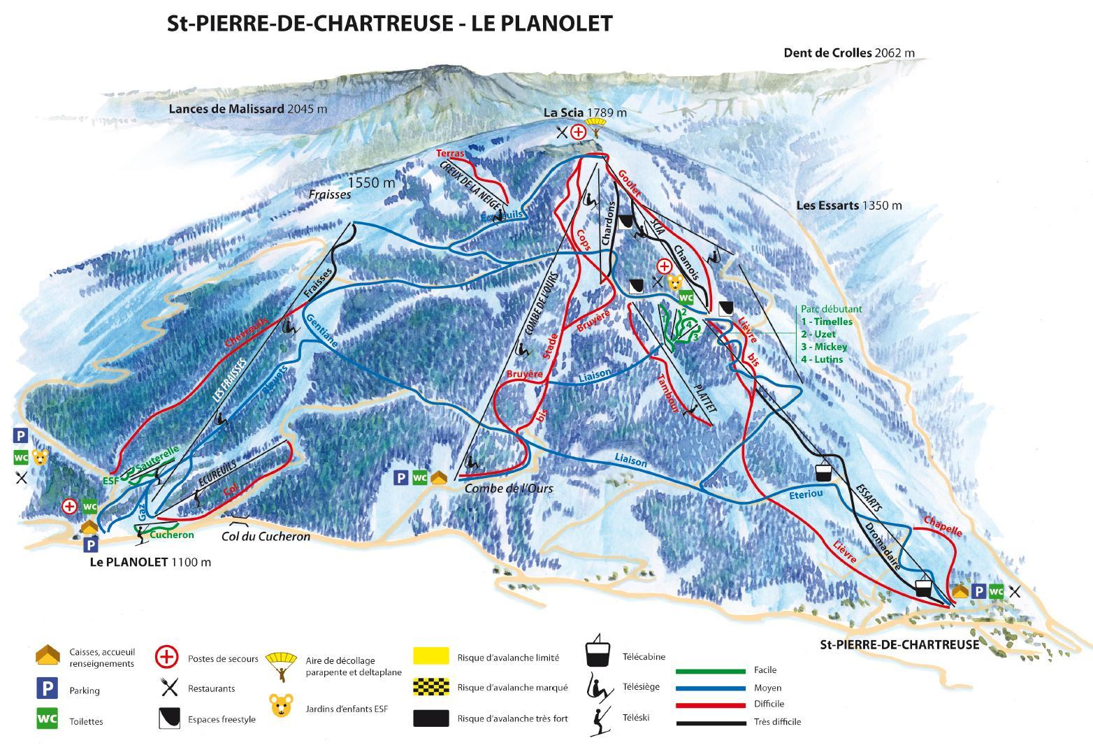 saint pierre de chartreuse le planolet plan des pistes de ski saint pierre de chartreuse. Black Bedroom Furniture Sets. Home Design Ideas