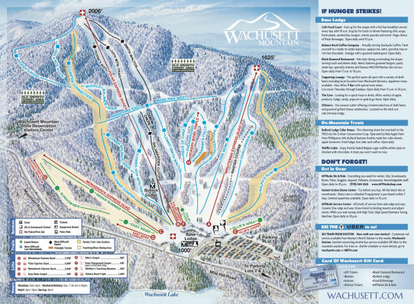 Wachusett Mountain Ski Area Plan des pistes