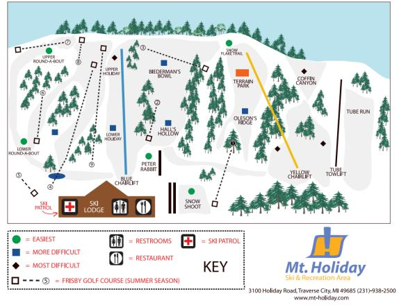 Mt. Holiday Ski Area Plan des pistes