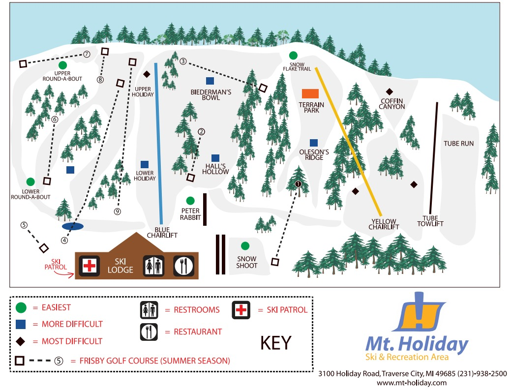 Mt Holiday Ski Area Trail Map Onthesnow