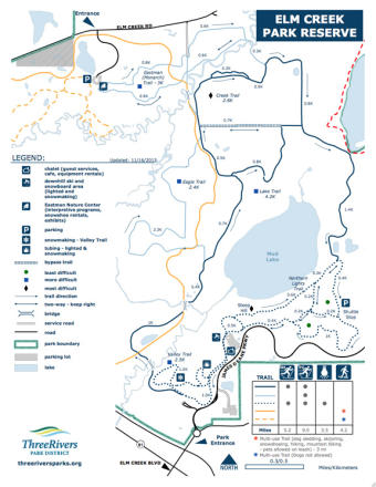 Elm Creek Winter Recreation Area Plan des pistes