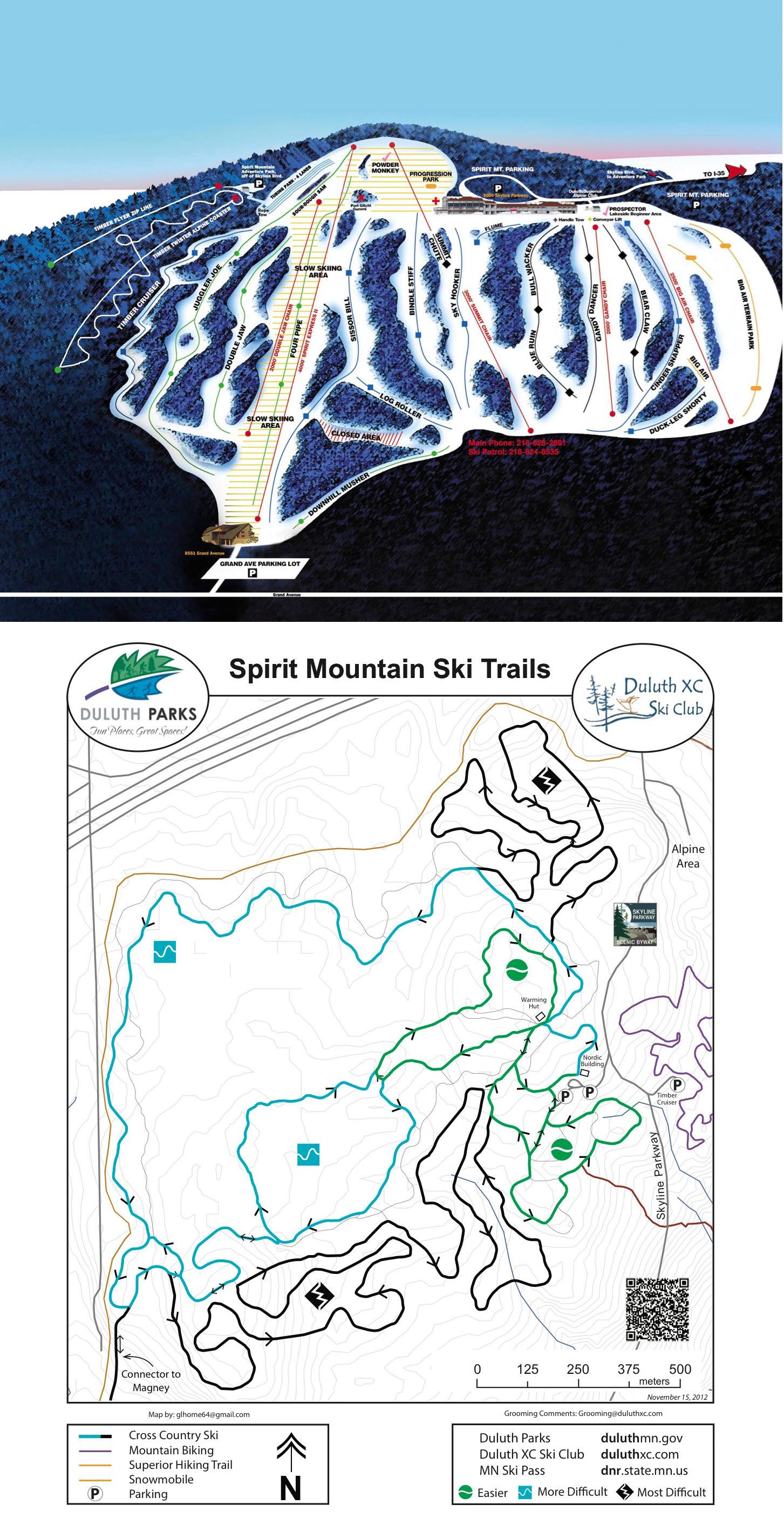 Spirit Mountain Trail Map - Duluth mn us map