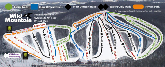 Wild Mountain Ski & Snowboard Area Piste Map