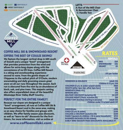Coffee Mill Ski & Snowboard Resort Piste Map