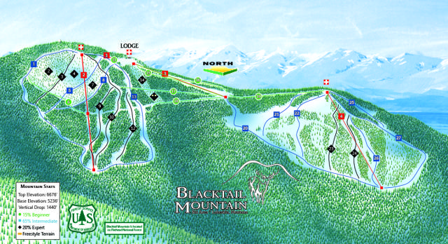 Blacktail Mountain Ski Area Plan des pistes