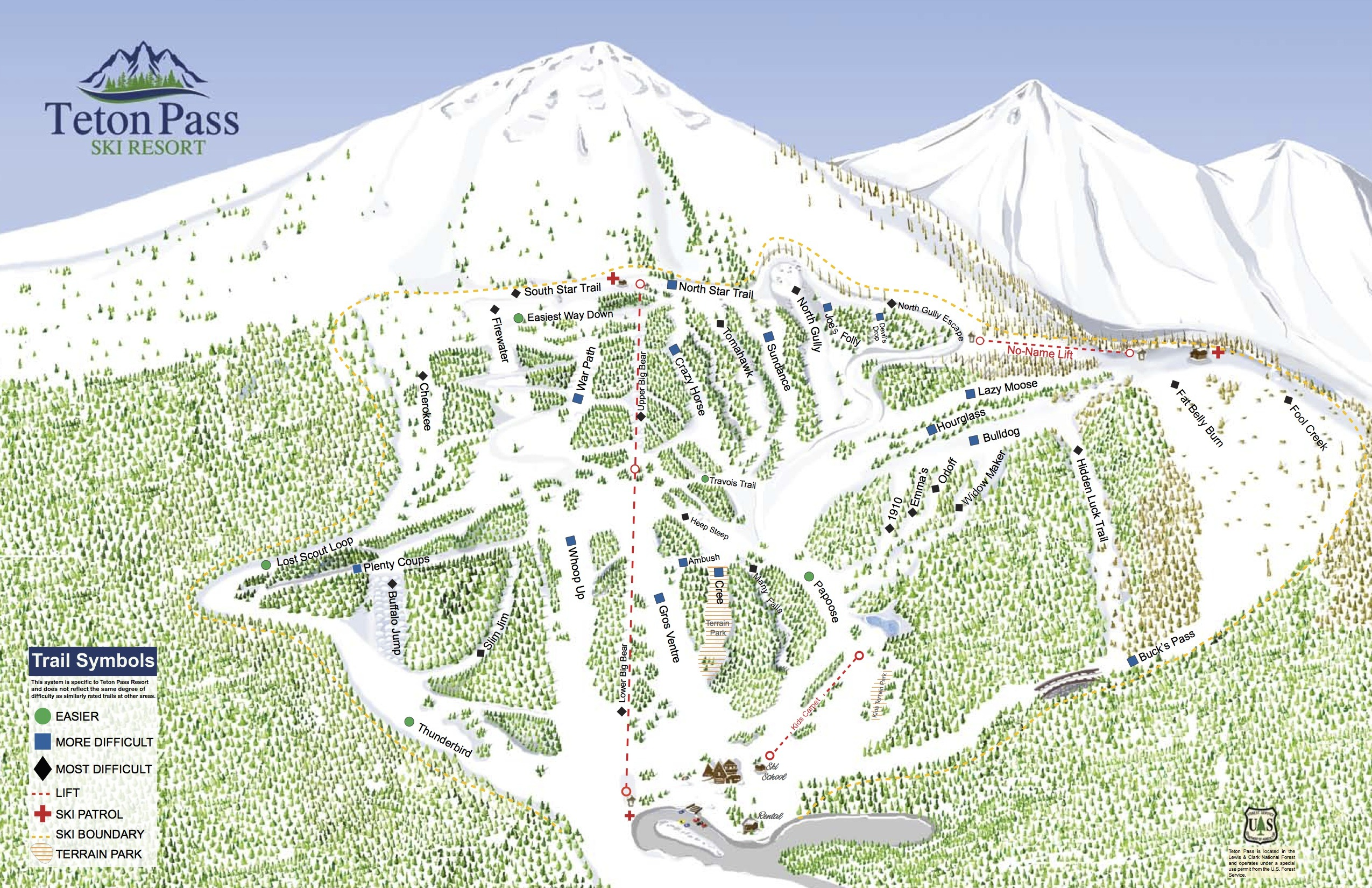 teton pass ski resort trail map | onthesnow